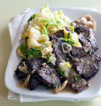 Young cabbage lightens the texture of mashed potatoes and gives them a new flavor component in this beefy meal-in-one recipe.
