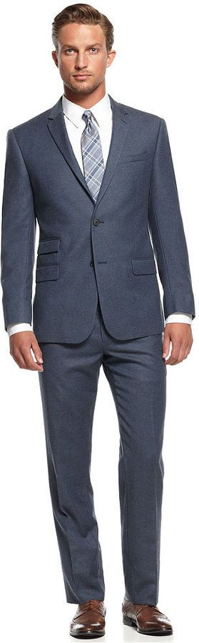 DKNY Blue Flannel Extra-Slim-Fit Suit