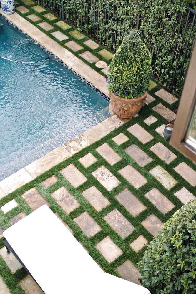 Subway patio pavers green grass grout garden for Green pavers