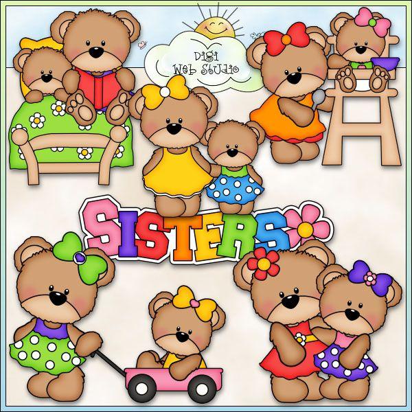 Teddy Bear Sisters 1 - NE Marjorie Ann Designs Clip Art : Digi Web Studio, Clip Art, Printable Crafts & Digital Scrapbooking!
