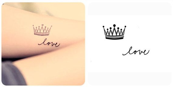 InknArt Temporary Tattoo - Crown & LOVE hand writing temporary tattoo wrist neck ankle