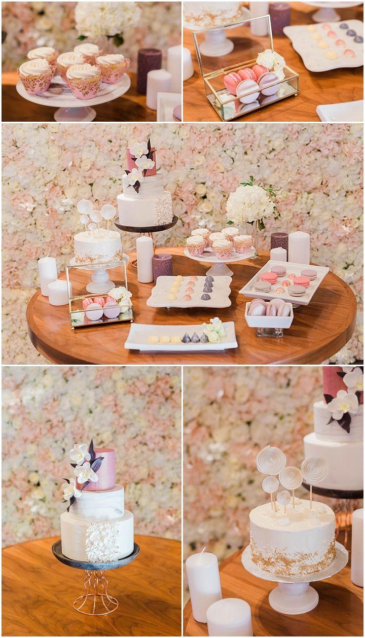 Wedding Deserts | Wedding dessert table, wedding macarons, rose gold macarons, colourful macarons, wedding cake, white wedding cake, white and oink wedding cake, gold wedding desert, gold and white wedding cake