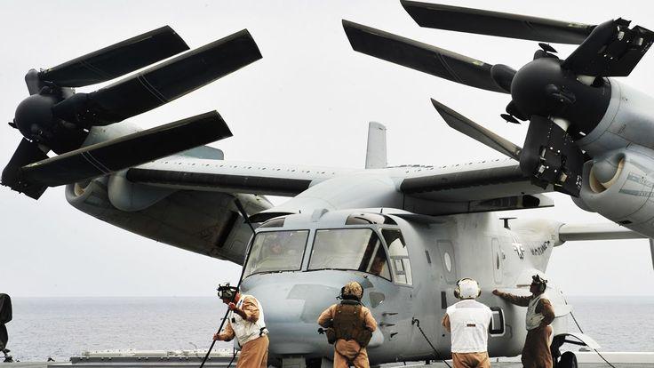 The US Marines Hybrid Transformer Helicopter/Plane in Action - V-22 Osprey