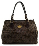 Fendi Handbags Monogrammed Quilted Coffee