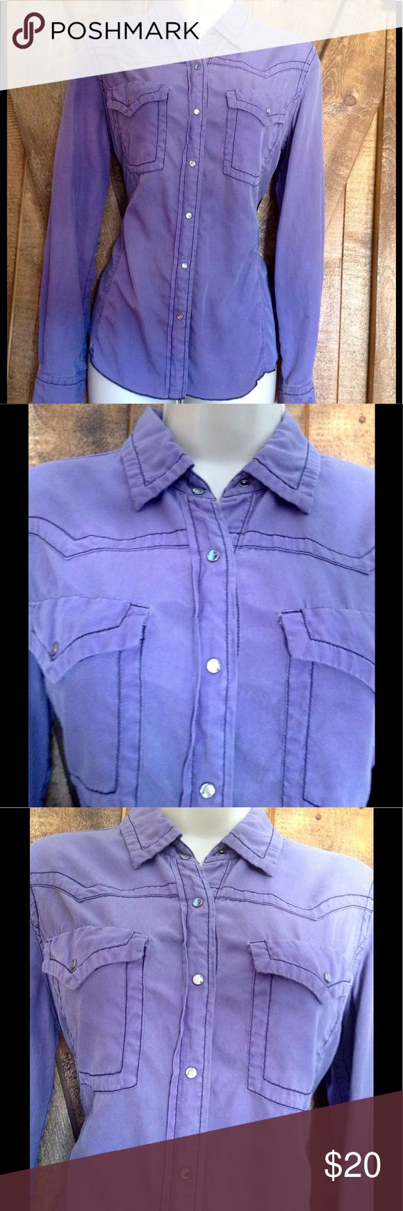 """💜LAVENDER WASHABLE SILK WESTERN STYLE BLOUSE💜💜 💜Feminine lavender color on soft silk cotton fabric with Ryan Michael flattering tailoring, real mother of pear snaps, black top stitching to highlight details. Measures laying flat 19"""" pit to pit and 25"""" mid shoulder to bottom hem. MACHINE WASHABLE AND DRYABLE  🤗 Can you believe that? 💜💜💜 Ryan Michael Tops"""