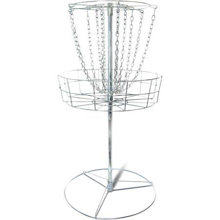 Titan Disc Golf Basket Double Chains Portable Practice Target Steel Frisbee, Silver