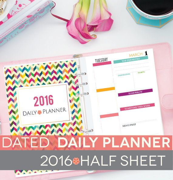 Daily  #planner Printable & Monthly Calendar 2016, DATED Day Docket Half Sheet, Printable Instant Download, A5 Inserts, EC