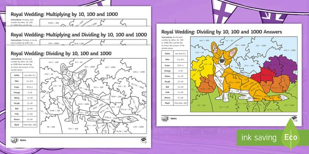Multiplying And Dividing By 10 100 1000 Colour By Number Differentiated Learning Activities Ks3 Maths