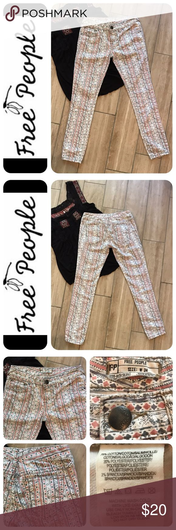 """🦋Free People Tribal Printed Skinny Jeans 🦋 Fun, flirty & boho describe these fab jeans. The delicate tribal print in creamy white, dusty pink and gray is perfect against a tan with a crop top. Approx measurements: Front rise 7"""", waist 24"""" & inseam 26"""". Condition is gently pre-loved- like new. 🦋No trades or lowball offers, please. Free People Jeans Skinny"""