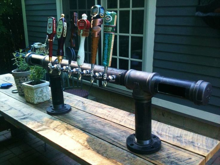 10 Tap Iron Pipe Beer Tap Tower Pub Brewery Home Bar. $1,925.00, via Etsy.