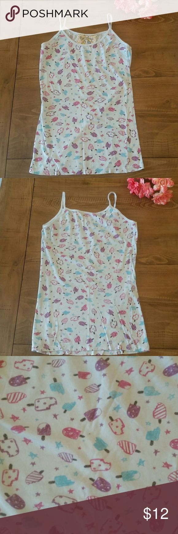 Ice Cream Spaghetti Strap Tank Cute with a cardigan over it or on it's own. Gently used. Approximately 25 inches long and 15 inches from armpit to armpit. Comes from smoke free home. Open to reasonable offers. Bundle and save! Scrapbook Tops Tank Tops