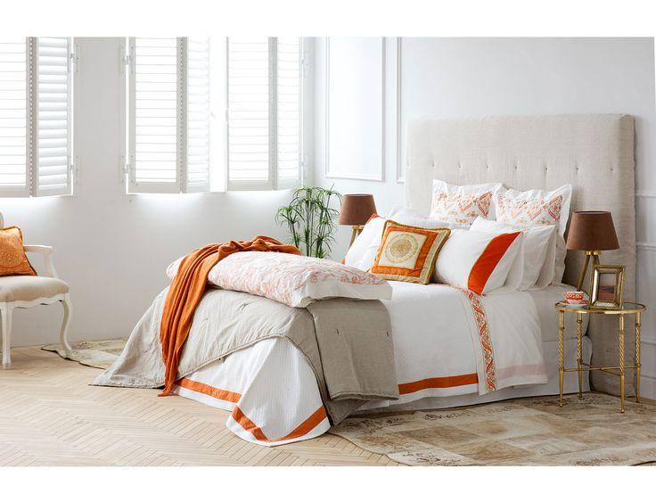 orange, ecru and white bedroom set