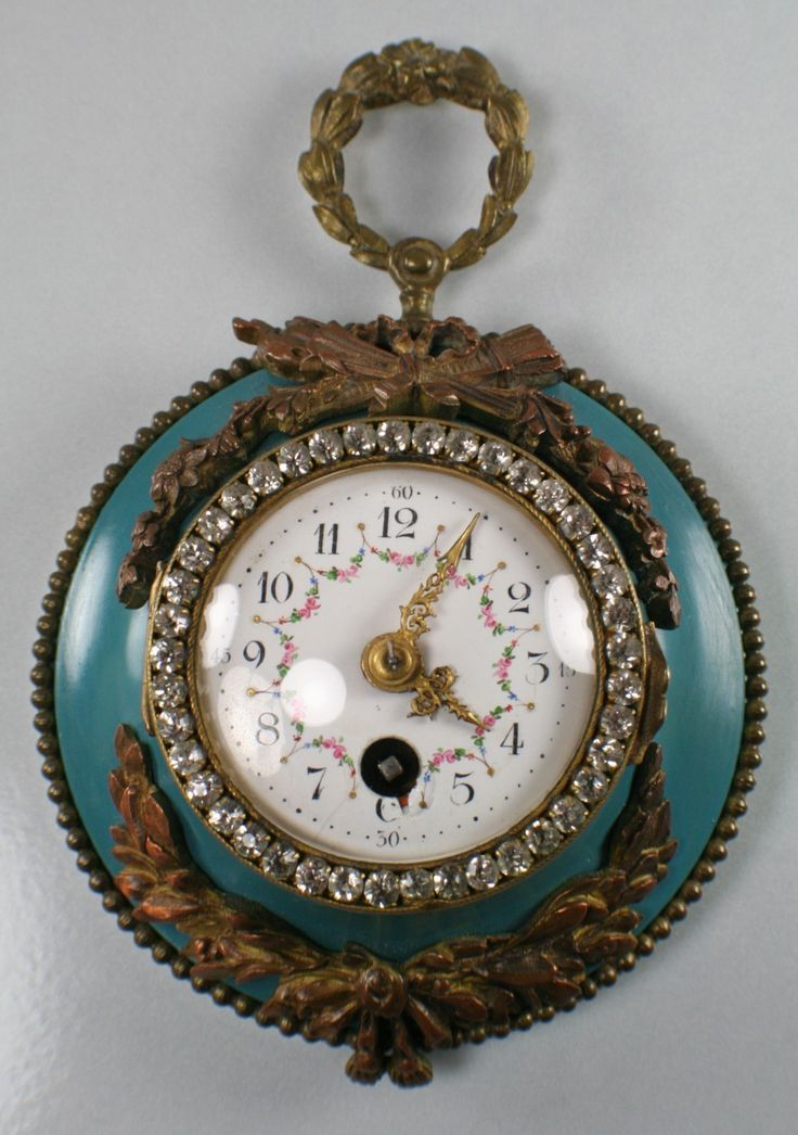 Antique French Enameled Porcelain Face Wall Clock Marked C H 3107 Glass Stones   eBay