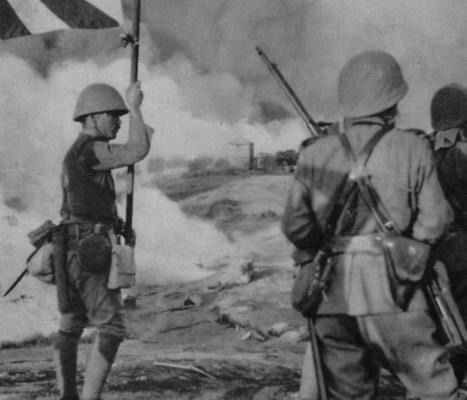 Imperial Japanese Navy Marines (SNLF) on the battlefield during the Canton Operation, China, 1938.