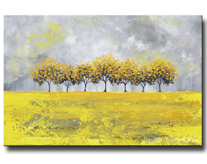 GICLEE PRINTS Large Art Yellow Grey Abstract Tree Painting