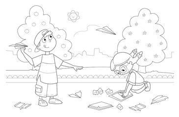 Illustrazione: Bambini che giocano con aeroplani di carta nel parco