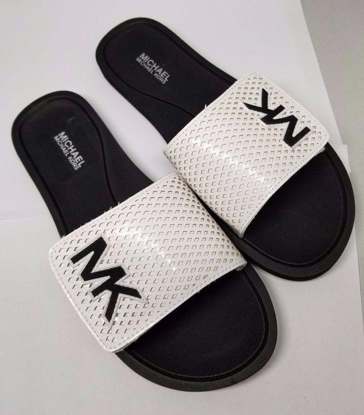 New Michael Kors MK Slide Sandals Shower Slippers Women Size 7M NIB White /Black #MichaelKors #Slides #SpecialOccasion