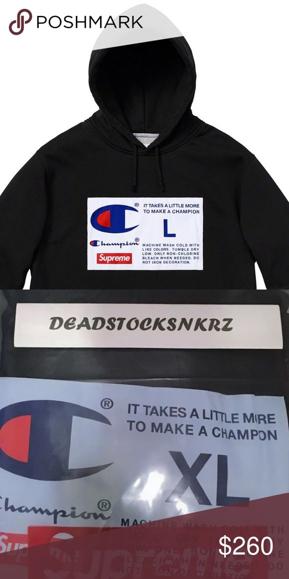 7824cdd9aa8d Supreme X Champion Label Hooded Sweatshirt Color: Black HEAVYWEIGHT COTTON  CROSSGRAIN FLEECE WITH POUCH POCKET, EMBROIDERED LABEL ON…