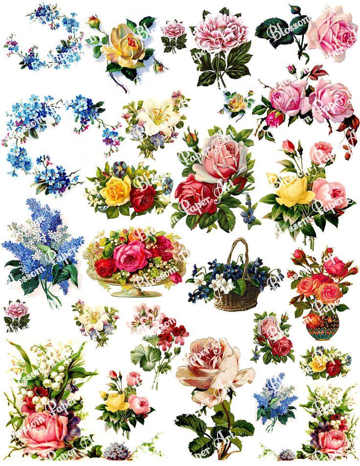 Vintage Flowers Digital Collage Sheet, Printable Floral