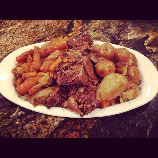 Horseradish Pot Roast  Print Ingredients Salt and freshly ground black pepper One 3 to 5-pound chuck roast 2 or 3 tablespoons olive oil 2 whole onions, peeled and halved 6 to 8 whole carrots, unpeeled, cut into 2-inch pieces 1 lb. small red potatoes 1 cup red wine 3 cups beef broth 3 Tablespoons …