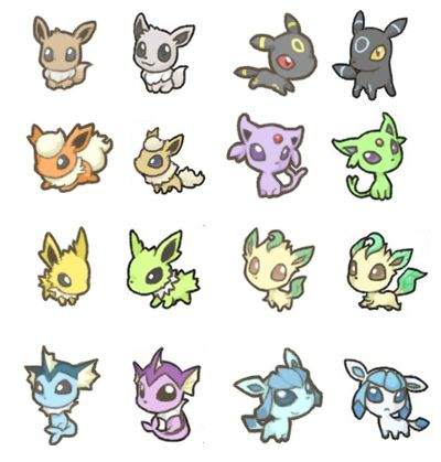 Pokemonn eeveelutions and their shinies