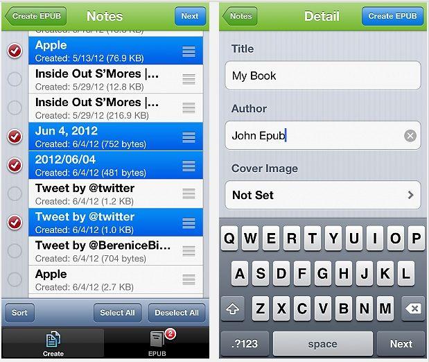 EverEPUB: crea un libro con tus notas de Evernote desde el iPhone o iPod touch