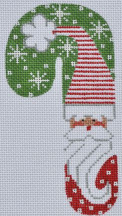 click here to view larger image of Red Puff Santa Candy Cane (hand painted canvases)