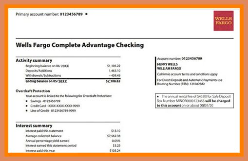 Bank Statement, Wells Fargo Bank statement and Banks - inspiration 9 create bank statement template