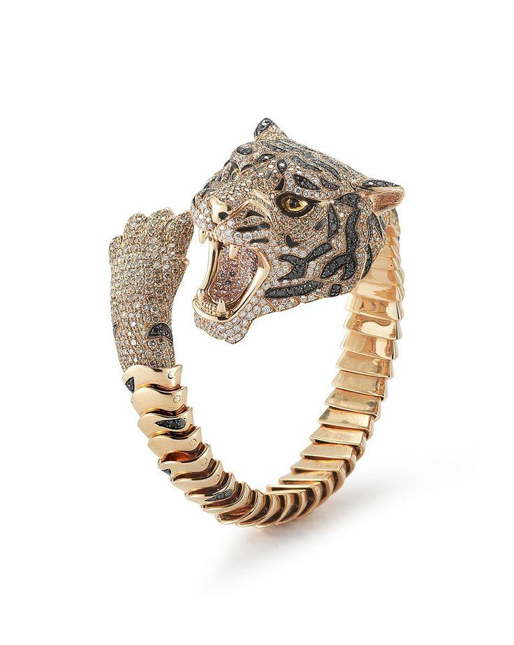 tiger bangle with black white and cognac diamonds roberto coin