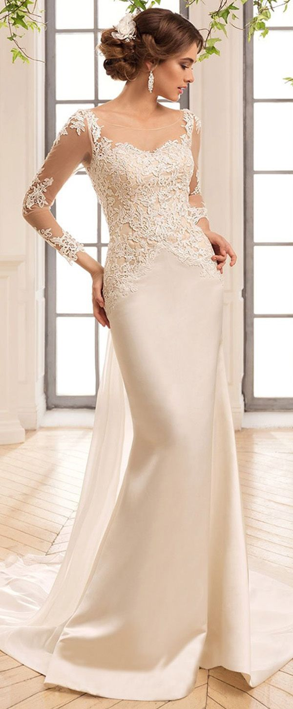 Gorgoeus Tulle & Satin Scoop Neckline Sheath Wedding Dresses With Lace Appliques