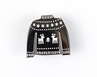 Silver Jumper enamel pin - woolly jumper pin badge - reindeer sweater - cheerful pin game - silver enamel pin - fun stocking filler gift