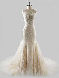 Fasciante Abito da sposa Strascico di corte Con decorazione gioiello Di pizzo / Tulle con Perline – EUR € 166.59