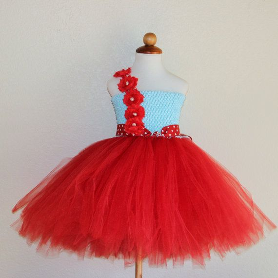 Blue Red tutu Dress for birthday pageant dress aqua by BloomsNBugs
