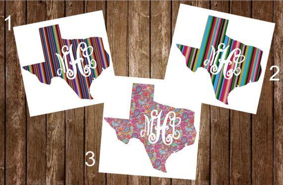 Yeti Tumbler Decal Texas Monogram Yeti Decal by AshbrookAccents