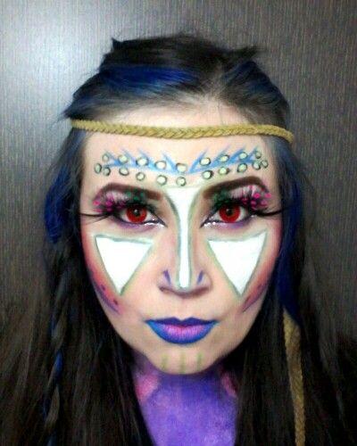 Hola halloween  maquillaje de fantasía mi versión de India, ❤espero les ayude la idea  #makeup #Halloween #fantastic #fantasia #dizfras #colors #Maquillaje #india