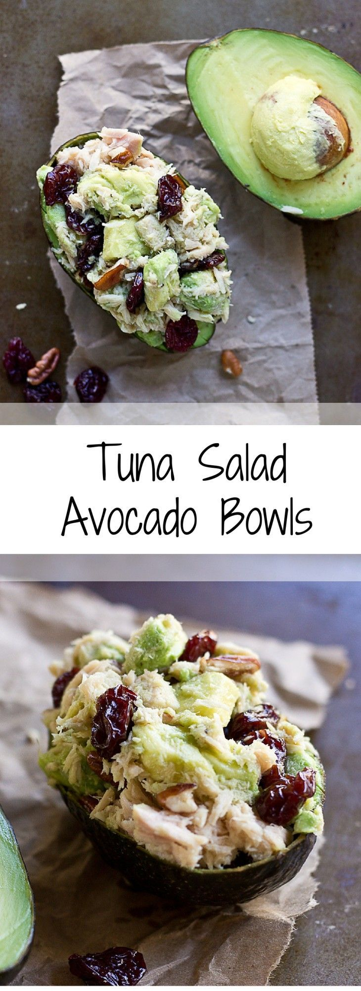 This is one POWER packed tuna salad recipe. These Tart Cherry Tuna Salad Avocado Bowls are filled with healthy fats from tuna, avocado, and pecans, it��s also rich in anthocyanins thanks to Montmorency tart cherries! Hello gawwwgeous!