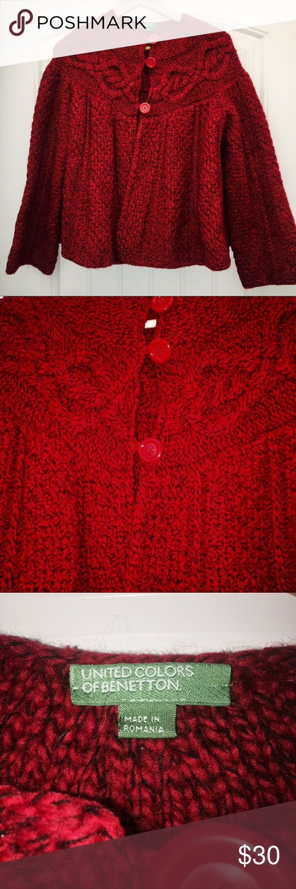 "United Color of Benetton Knit Sweater Red/Blk M Sweater has 3 Buttons and is Beautifully Made. Mint Condition with No Rips or Stains  * Chest: 25"" * Length: 24"" * Fabric: 50% Lana Wool/ 50% Acrylic  * Colors: Red/Black United Colors Of Benetton Sweaters Shrugs & Ponchos"