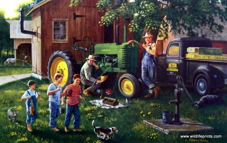 In this nostalgic Charles Freitag farm picture the John Deere dealer is making a service call while the kids head down to the creek to do a little fishing. This print is available in two different unf