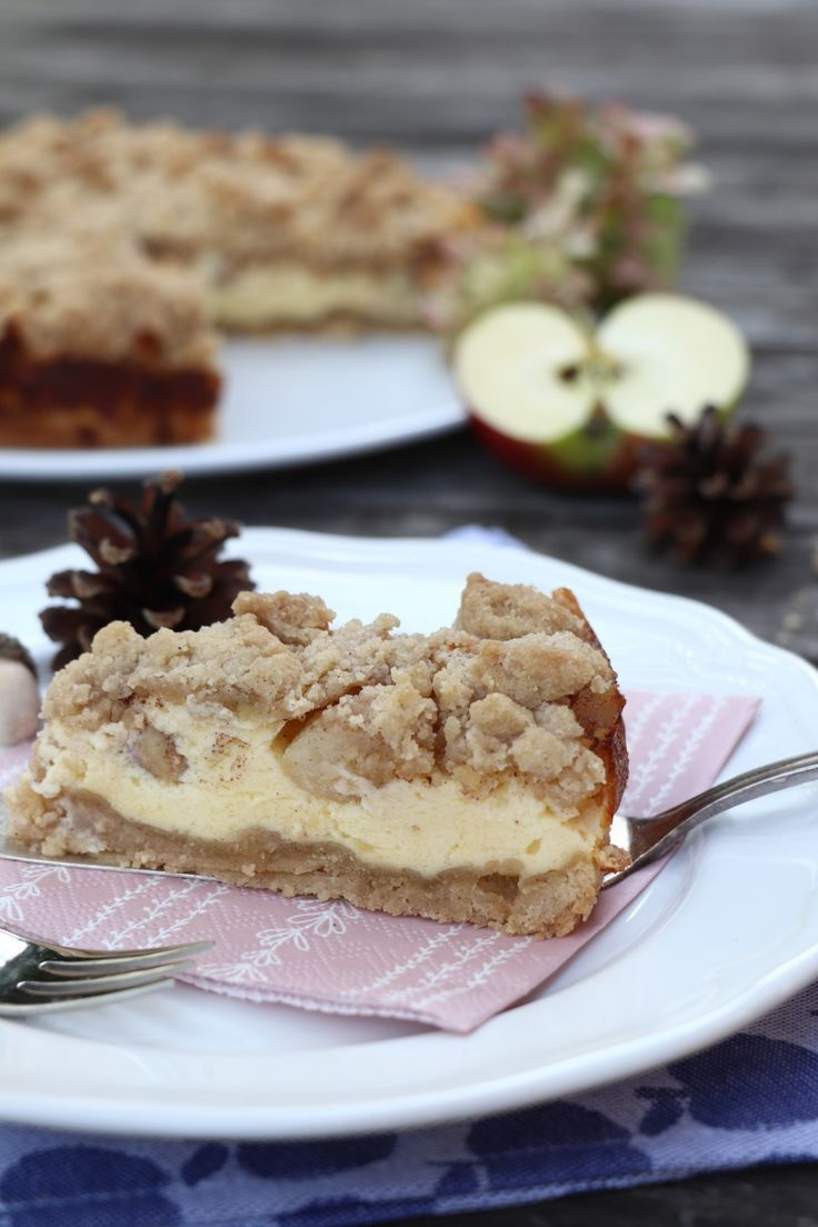 Recette d'automne: gâteau au fromage aux pommes avec garniture crumble