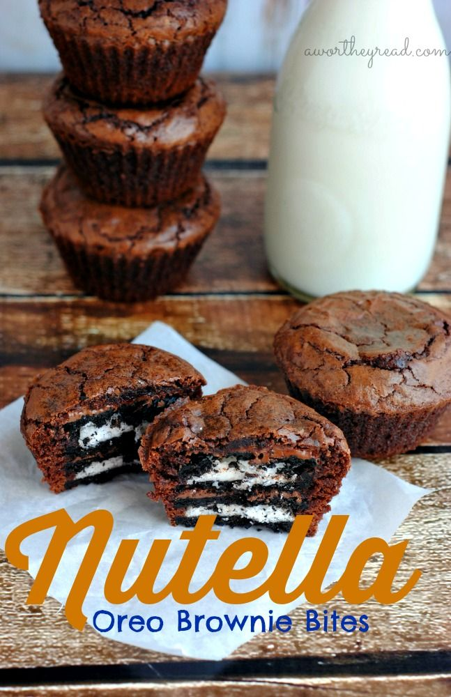 Nutealla Oreo Brownie Bites! This recipe is very easy to follow and make! The perfect dessert for all the Nutella lovers out there! Be sure to pin this one, and click through for the recipe! You'll be glad you did! A Worthey Read