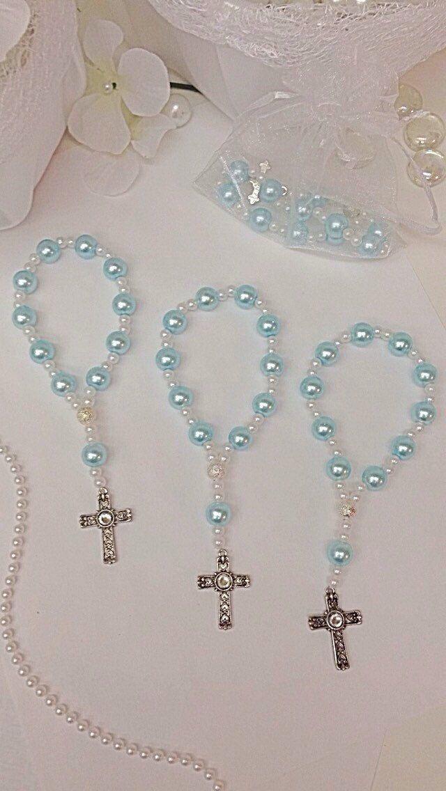 Pulseras de perla Rosario mini de cristal azul por Beautifyyou