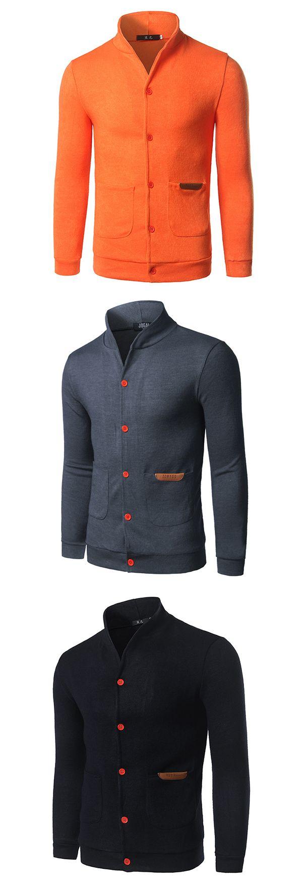 US$19.77 Mens Fashion Solid Slim Fit Knit Cardigan