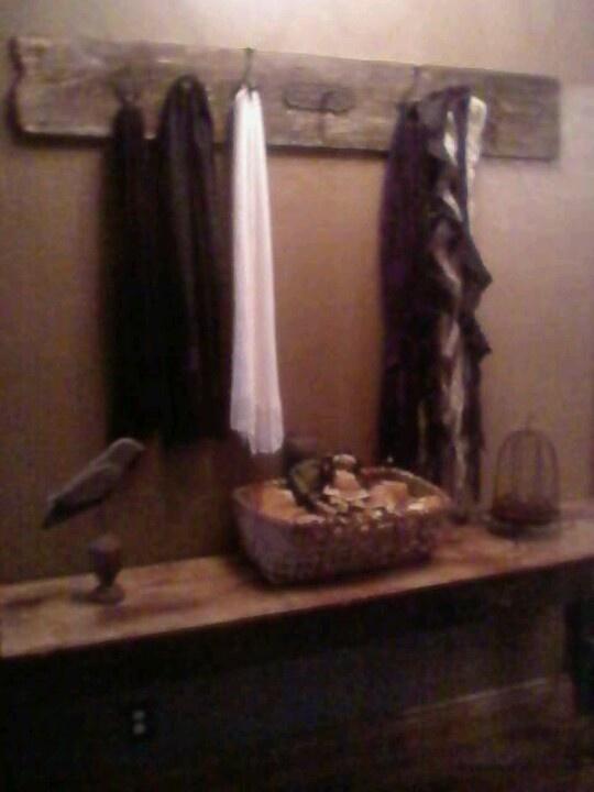 Old barn wood scarf hanger