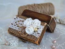 Holz Ring Box Hochzeit ringkissen Ring Schatulle