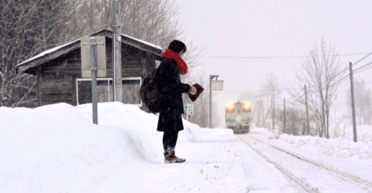 The train makes only two stops—one when a lone high-school student leaves for school and the other when she returns.