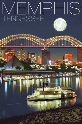 Memphis, Tennessee - Memphis Skyline at Night