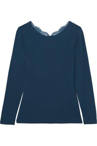 La Perla - Souple Lace-trimmed Stretch-cotton Jersey Pajama Top - Petrol -