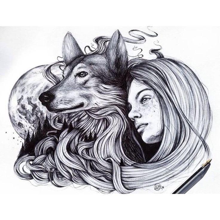 Девушка и волк картинки нарисованные