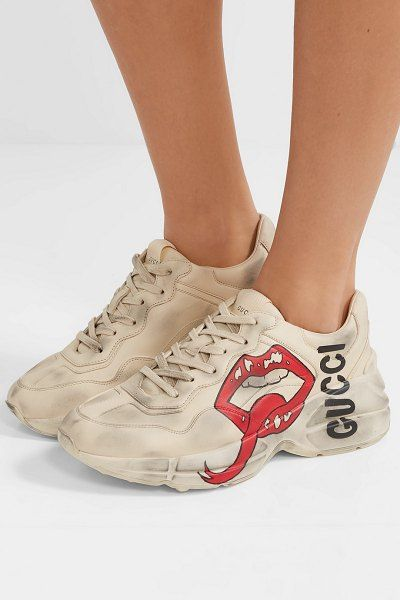 2d73932ae40 Gucci rhyton printed leather sneakers.  gucci  sneakers  activewear ...
