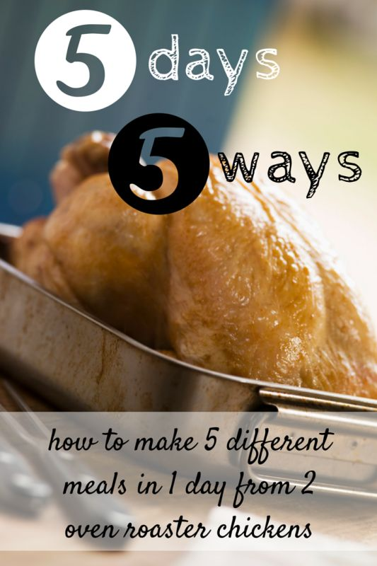 This idea adapted from Rachael Ray is perfect for busy moms. Spend 1 day in the kitchen with 2 whole chickens...and you can prep a whole week's worth of meals!